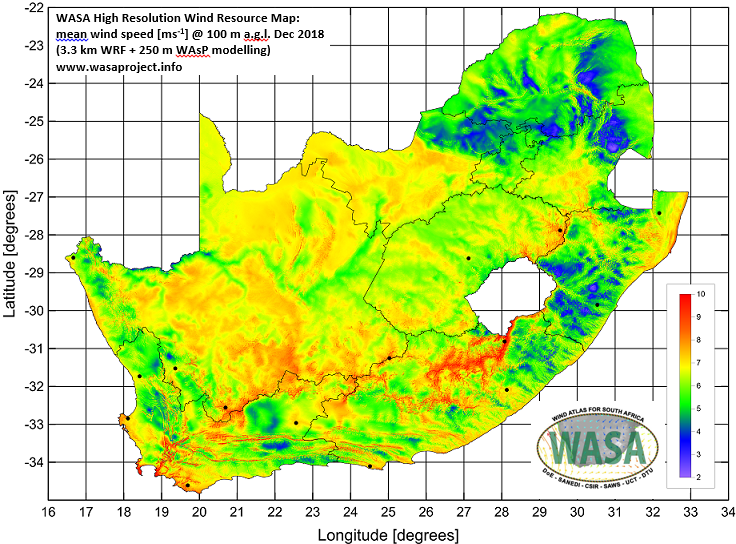 Wind Map South Africa Wind Atlas for South Africa (WASA) SANEDI